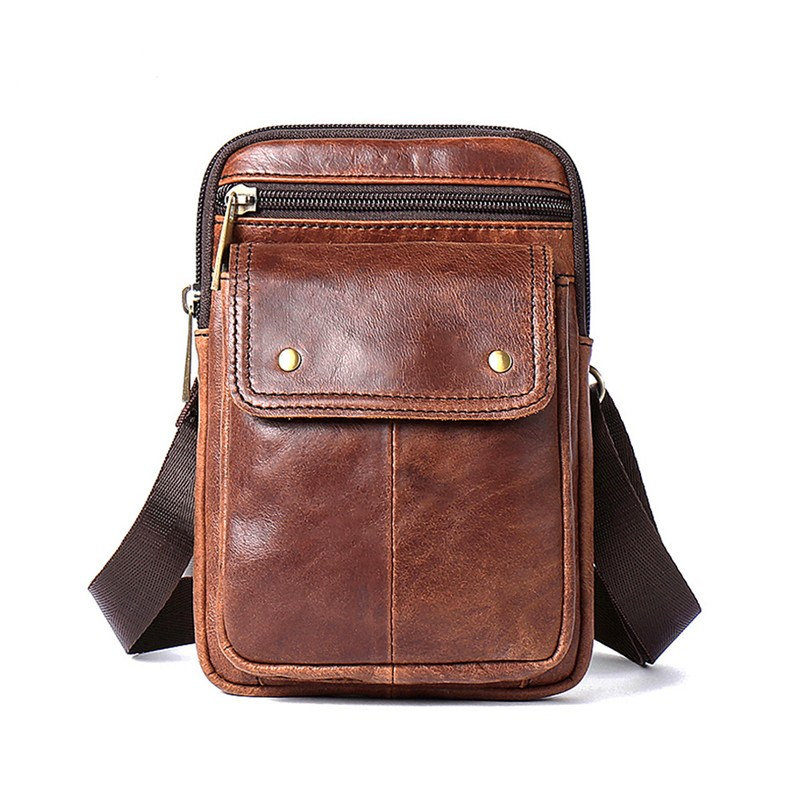 Men Bags Genuine Leather Men's Messenger Bags Mini Bag Men Shoulder Bags Multi-function Money Belt Waist Male Hap Bags for Men