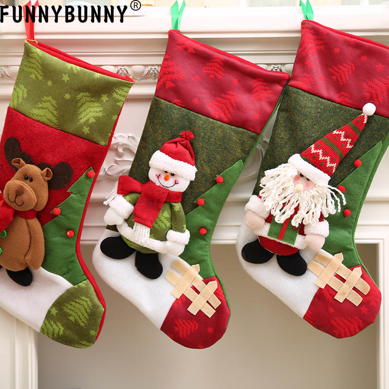 FUNNYBUNNY Christmas Decoration Personalized 3D Christmas stockings gift collection bag Santa Claus Snowman Elk in Stockings Gift Holders from Home Garden
