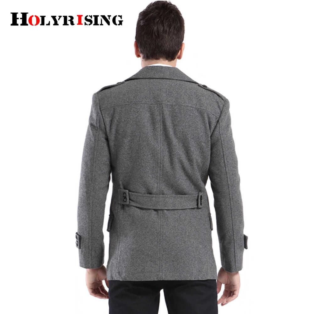 Holyrising пальто мужские повседневные шерстяные пальто толстые двубортные мужские пальто мягкая теплая верхняя одежда Casaco Masculino серая одежда 18254-5