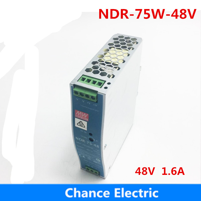 75W 48V MEAN WELL Power Supply NDR-75-48 meanwell 1.6A 75.W Single Output Industrial DIN Rail Switching Power Supply цена