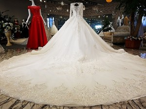 Image 2 - LS53710 ivory as the picture full sleeves o neck ball gown lace up back hand work wedding dresses vestido de noiva real photos
