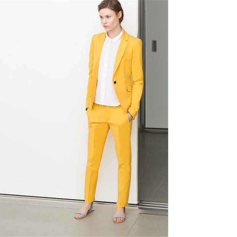dc6bcafa9b76215 Классические брюки желтый женский Бизнес офисная униформа, костюм комплект  из 2 частей Блейзер Для женщин