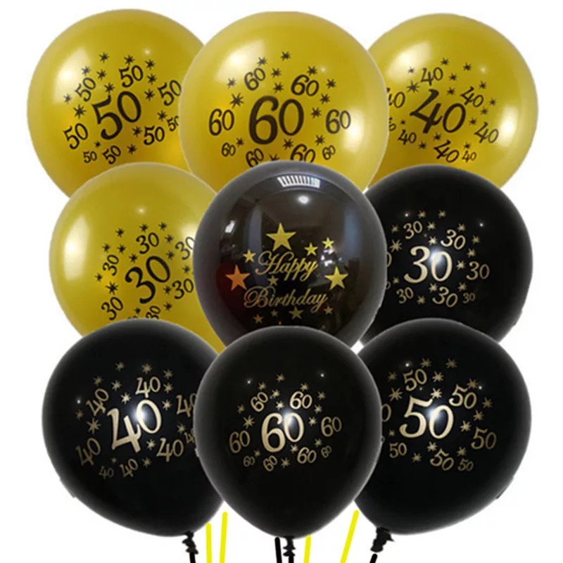 6 BLACK /& GOLD LATEX BALLOONS HAPPY BIRTHDAY PRINTED ADULTS HELIUM  DECORATION