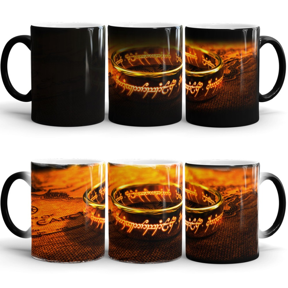 the lord of the rings art cold hot heat sensitive mug heat transforming heat changing color Ceramic