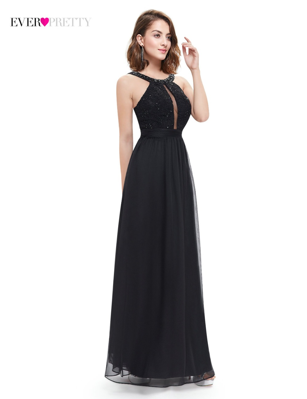 Fast Shipping Black Evening Dresses 2018 Ever Pretty EP08572BK O neck  Spaghetti Straps Floor Length Party Dress Lace Appliques-in Evening Dresses  from ... 942ef76bf9c7