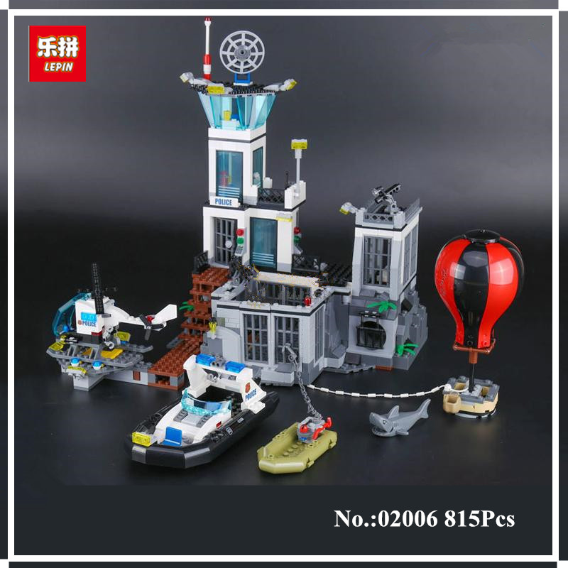 In Stock  Lepin 02006 815Pcs City Series Prison island set Children Educational Building Blocks Bricks Boy Toys Model Gift lepin 02012 774pcs city series deepwater exploration vessel children educational building blocks bricks toys model gift 60095