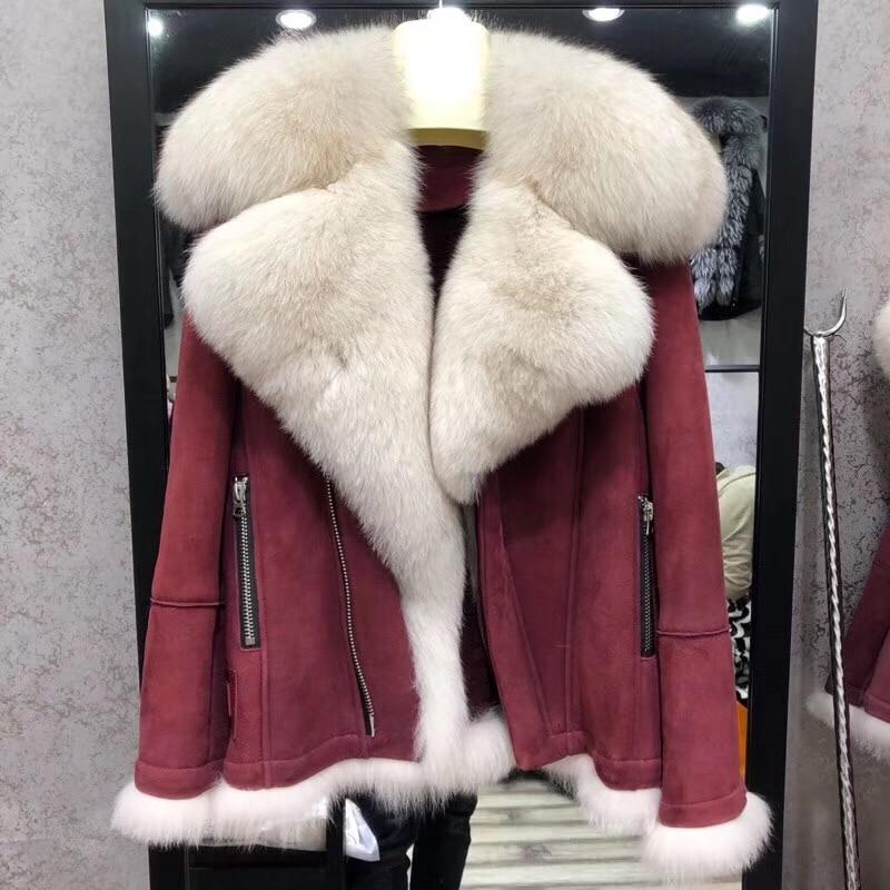 D'hiver Épaisse Naturel Fourrure De brown Moto Manteau Veste Col Red Mode Cuir Plus black Chaud Mouton En Nouvelle Taille La Femmes Renard 2018 Réel cwWqYApx8S