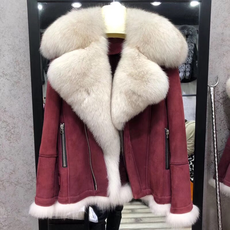 Réel manteau de fourrure hiver femmes naturel renard fourrure col mouton fourrure moto en cuir veste grande taille épais chaud manteau 2019 nouvelle mode