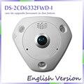 O envio gratuito de inglês versão DS-2CD6332FWD-I 3MP 1080 P PoE WDR 360 grau Fisheye e - Dome PTZ IP Network Camera Micro SD Memory