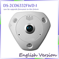free shipping English Version DS-2CD6332FWD-I 3MP 1080P PoE WDR 360 Degree Fisheye e-PTZ Dome Network IP Camera Micro SD Memory