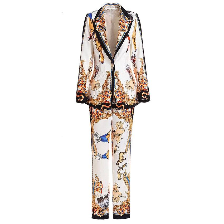 HIGH STREET New Fashion 2019 Stylish Deesigner Runway Suit Set Women s Retro Print Single Button