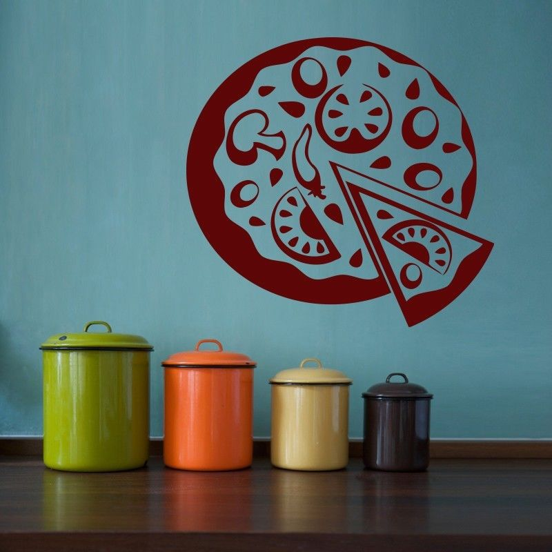 Free shipping pizza restaurant vinyl wall decal pizza for Decoracion pizzeria
