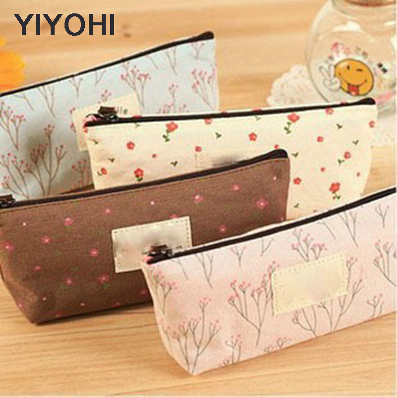 YIYOHI Portable Canvas Flower Floral Cosmetic Bag Travel Toiletry Wash Makeup Storage Bags Organizer Make Up Case For Women ladsoul 2018 women multifunction makeup organizer bag cosmetic bags large travel storage make up wash lm2136 g