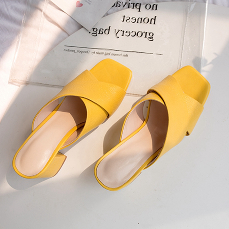 ORCHA LISA/2019 г. Новая женская обувь, женские туфли с перекрестными ремешками, сандалии на коротком каблуке на толстом высоком каблуке, шлепанцы с открытым носком, желтые шлепанцы - 3