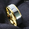8 мм Tungsten Мужские Кольца Золото полированный Обручальное кольцо Мужские Ювелирные Изделия Бесплатная Доставка