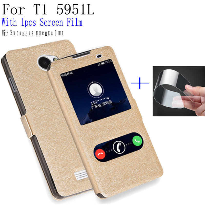 For Coolpad T1 5951L Case Cover Flip Leather With Smart View Window Protection Shell for Coolpad T 1 5951 L Holster case cover