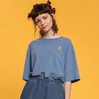 2017 Women S T Shirts Cartoon Banana Embroidery Blue Gray Original Playful T Shirt Harajuku Short