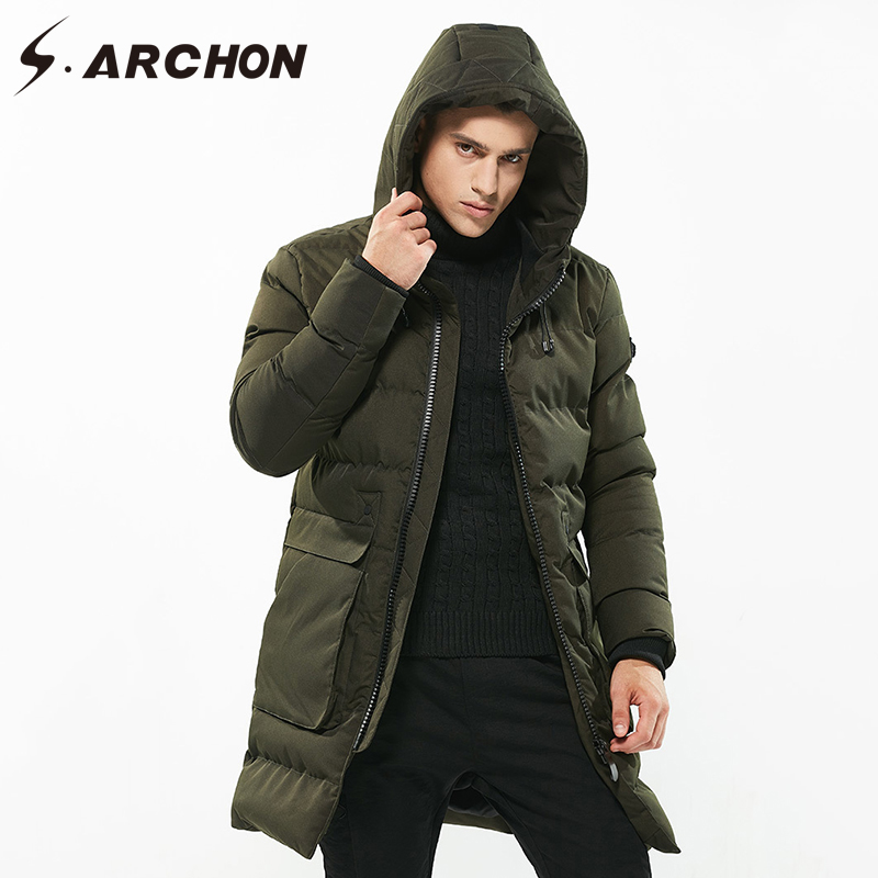 S.ARCHON Winter Thick Long Parka Jackets Men Hooded Warm Cotton Padded OuterWear Male Casual Thermal Windbreaker Coats Clothing new pure color hooded cotton padded clothing jackets business long thick winter coat men solid parka fashion overcoat outerwear