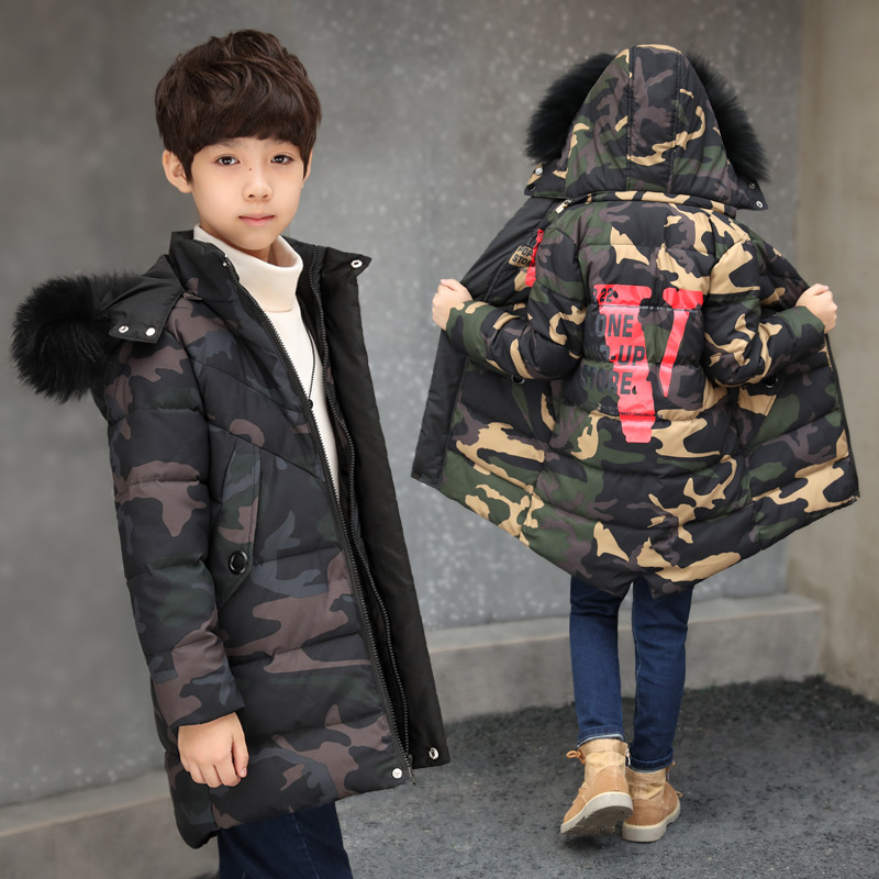 2018 Russia Winter Boys Long Down Jacket Teenage Boy Warm Thick Cotton Down Parkas Children Hooded Coats Kids Clothes 12 14 Year winter cotton jacket hooded coats women clothing down cotton parkas lady overcoat plus size medium long solid warm jacket female