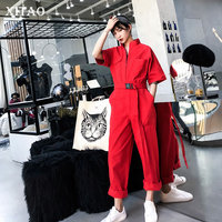 [XITAO] Korea Fashion New Women 2019 Spring Summer Loose Full Length Pants Female Pocket Solid Color Casual Jumpsuits ZLL3024