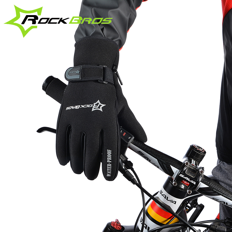 RockBros Windproof Outdoor ull Finger Ride Cycle Bicycle Bike Cycling Gloves Winter Fleece Thermal Warm Touch Screen Long Gloves