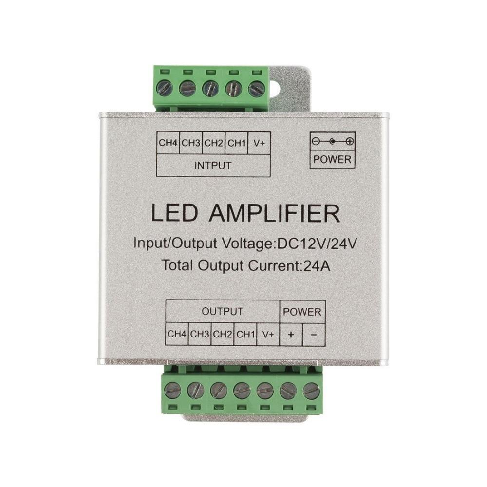 Cheap RGBW Amplifier 24A Data Signal Repeater 4CH Channels Circuit Aluminum  Shell For RGBWW LED Lights Strip 12V 24V - MARIASHOP GA