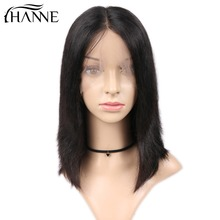 HANNE Hair Lace Front Short Bob Wig Brazilian Straight Human Wigs Middle Part For Black Women 150% Density with Baby