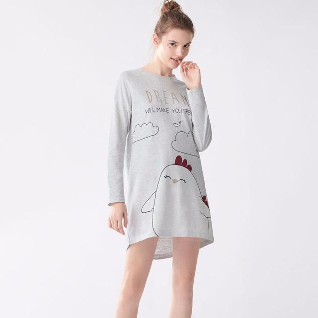 Mulheres da moda cão frango cartton Pijama Sleepwear Ternos Das Senhoras Manga Comprida de Algodão Camisola Bonito Roxo Bottoms Pijamas set