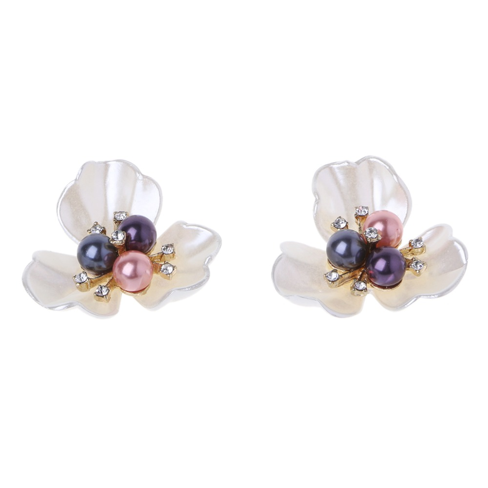 2Pcs DIY Embroidered Sequins Beads Decorative Accessory Cloth Patch Shoe Clips