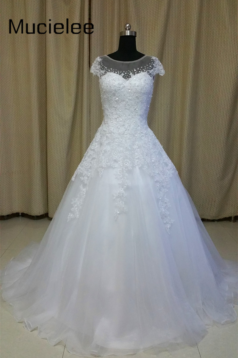 Real Photo Rhinestone Short Sleeve Lace Wedding Gowns Modest Plus ...