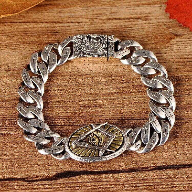 S925 bijoux en argent sterling oeil de dieu croix phoenix motif bracelet homme