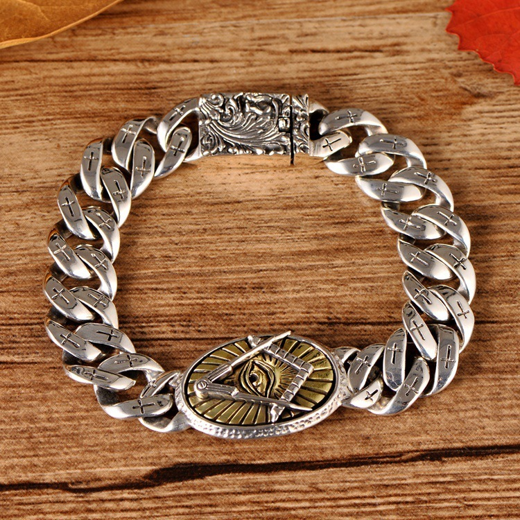 S925 sterling silver jewelry eye of God cross phoenix pattern mans braceletS925 sterling silver jewelry eye of God cross phoenix pattern mans bracelet