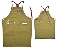 Kitchen Waiter Apron Denim Bib Leather Strap Barista Coffee Chef Uniform Tattoo Shop Carpenter Hairdresser Barber Workwear