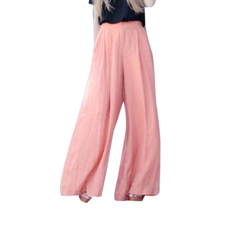 Mooistar #L030 2017 Sexy Waist   Wide     Leg     Pants   Women Casual Summer Long Loose   Pants