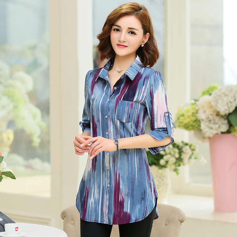 b56f90a92e6 ... New Fashion Print Blouses Women Long Style Shirts 2019 Cotton Ladies  Tops Long Sleeve Blusas Femininas ...