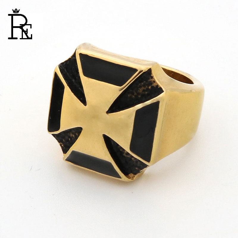 RE Punk Ring for Men Male Titanium Cross Steel Gold Color Antique Vintage Rings