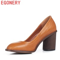2018 autumn leather pumps woman high heels round toe office ladies thick heel black brown plus size good quality shoes women