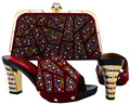 New Arrival High quality matching italian shoe and bag set,African Lady high heels to match women dress with wine Color  MJT1-26