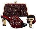 Nova Chegada de Alta qualidade que combina a sapata italiana e saco de definir, Africano senhora saltos altos para combinar com as mulheres se vestem com Cor de vinho MJT1-26