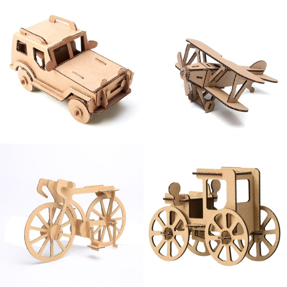 1Set=4pcs 3D Vehicle Car Airplane Bicycle Model Paper Jigsaw Puzzle Kid-Parent Game Play ...
