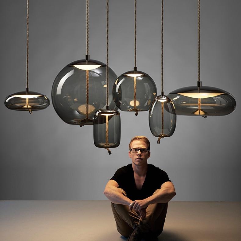 Moderne Led métal pendentif lumières en fer forgé verre boule ronde en laiton tige suspension lampe pour salon Roomcafekitchen nordique éclairage