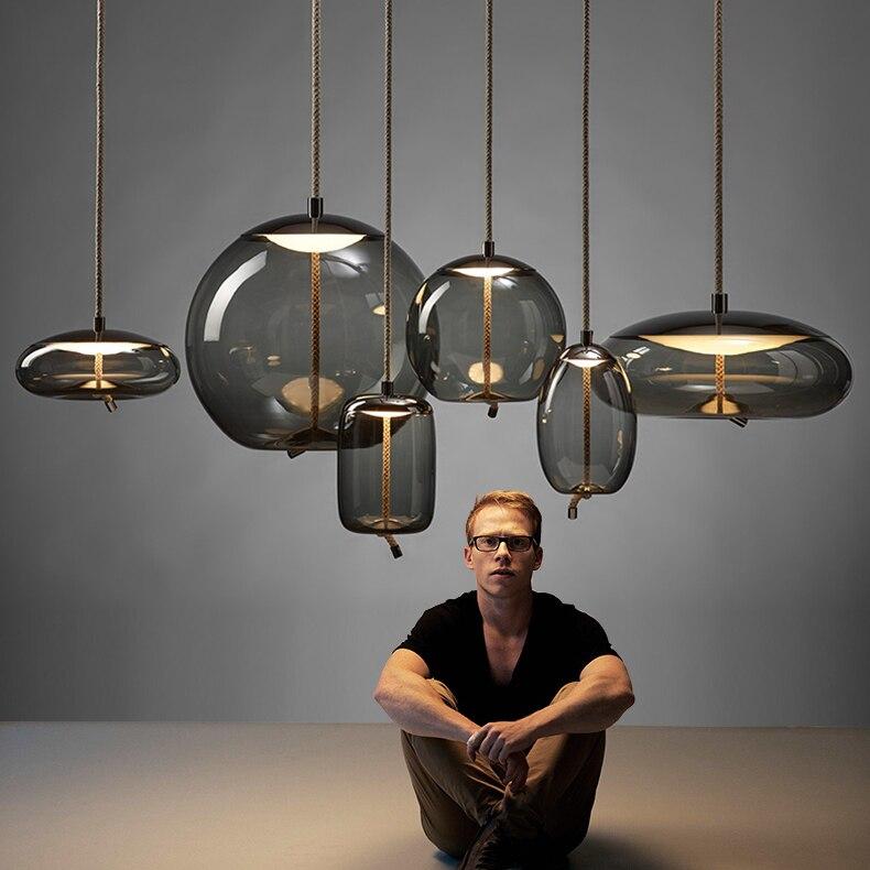 Moderno led luzes pingente de metal ferro forjado vidro bola redonda haste bronze pendurado lâmpada para sala estar roomcafekitchen iluminação nórdica