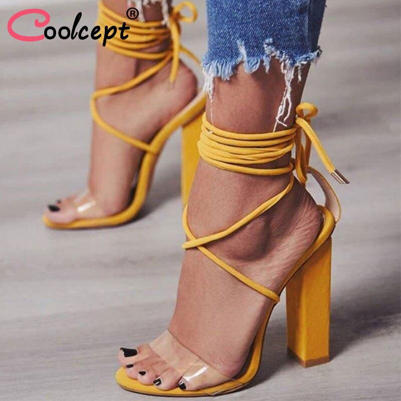 Coolcept Размеры 34–43 Дамские греческие сандалии на высоком каблуке с перекрестными ремешками вечерние пикантные летние шоссе Для женщин модны... ...