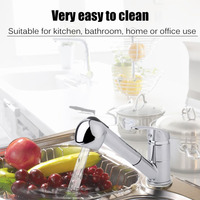 Modern Style Stainless Steel Pull Out Kitchen Faucets Chrome Finish Swivel Spout Basin Sink Faucets Taps