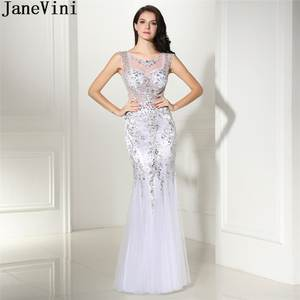 JaneVini Luxurious White Crystal Prom Dress Mermaid See Through Tulle  Beaded Bridesmaid Dresses Long Sexy Wedding Party Gowns 31d7b7b7f447