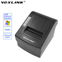 VOXLINK High Speed 300mm S 80mm Auto Cutter POS Thermal Receipt Printer With USB Ethernet Interface