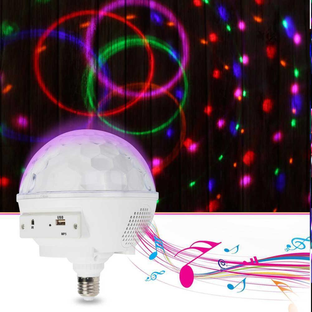 E27 дома Спальня звук Управление свет этапа атмосферу вечерние малый хрустальный магический шар USB RGB Вращающийся Bluetooth DJ Led диско