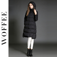 Woffee Brand 2017 Women Down Jackets Winter Made Of Feather Long Solid Color White Duck S