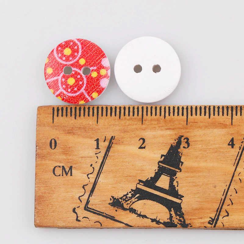 Mieszane styl losowy śliczne drewniane przyciski 2 otwory nadające się do szycia i Scrapbooking 13mm dla Craft DIY 50 sztuk