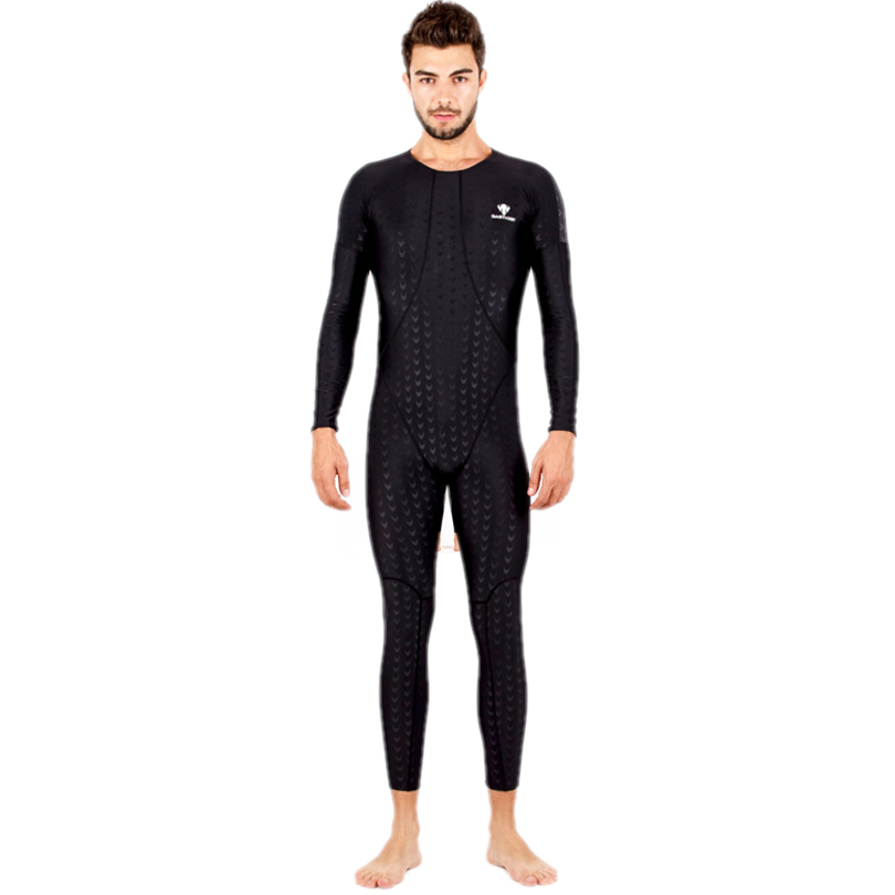 HXBY Long Sleeve Men One Piece Swimsuit Quick Dry Male Solid Color Swimming Suit Professional Winter Swimming Sport Wear Men